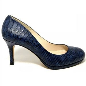 L.K. Bennett Blue Croc Embossed Low Heel Pumps